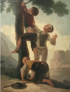 """Abb 3: Kind mit einer Tinea capitis microsporica. Gemälde """"Knaben beim Erklettern eines Baumes"""" von Francisco de Goya, Prado, Madrid. Foto C. Seebacher."""